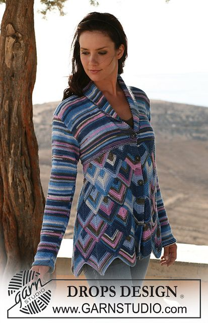 """Ravelry: 107-1 jacket in domino diamonds and stockinette st in """"Muskat Soft"""" pattern by DROPS design"""