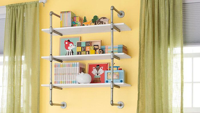 "Open Bookshelf, Wall Mounted Bookshelf, Galvanized Pipe-Frame Complete Pipe Parts Kit for ""DIY"" Project, Easy to Assemble, SALE!! by PipeLineDesignStudio on Etsy https://www.etsy.com/listing/483849512/open-bookshelf-wall-mounted-bookshelf"