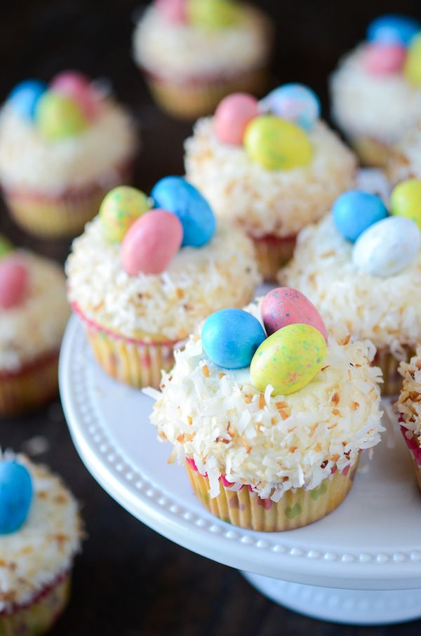 Coconut Cupcakes (with Coconut Easter Nests!) from thenovicechefblog.com