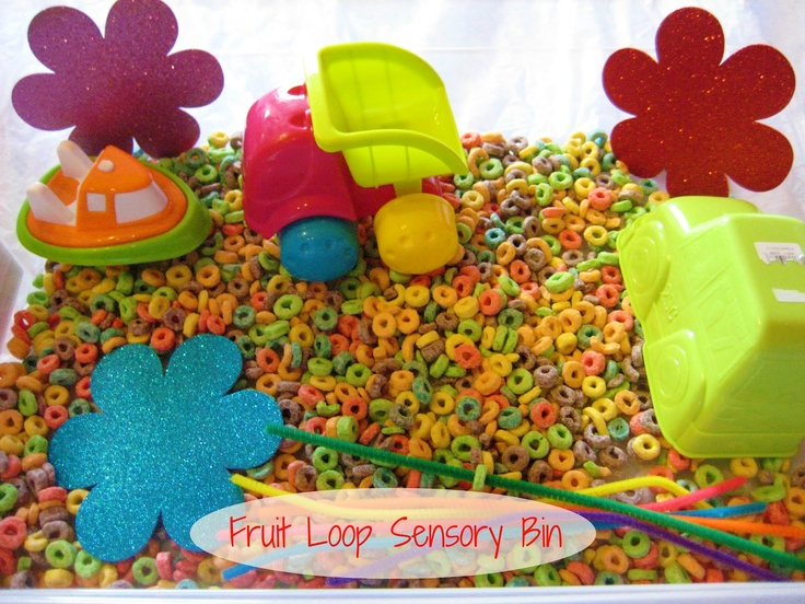 rainbow sensory bin made with fruit loops educational edible sensory activity