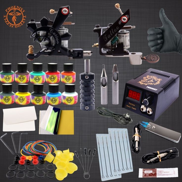 36.95$  Buy now - http://aliwgc.shopchina.info/go.php?t=32790590251 - Professional Tattoo Kit  10 Colors Tattoo Ink Sets Black Power Supply Needles Permanent Make Up   #aliexpresschina