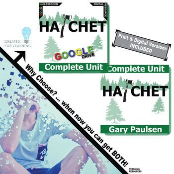 Our Combination Hatchet Unit Teaching Package has 424+ pages and slides of engaging activities (215+ print and 209+ digital Google Drive). Learners will enjoy the rigor and creativity in these standards-aligned resources built from best practices.NOVEL: HATCHET by Gary PaulsenLEVEL: 5th - 8thTOTAL: 424+ combined slides/pages in lesson plan unit Pacing Guide and Answer Keys included Digital-only Version  Print Version MEETS COMMON CORE STANDARDS What is Created for Digital?