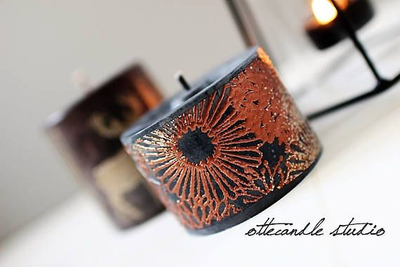 Metallic Oriental Embossing Stamped Pillar Candle 100% Soy Wax