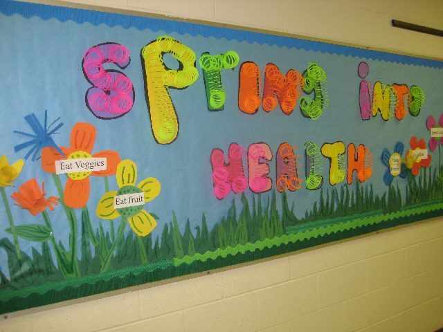 Spring Classroom Decorations To Make ~ Spring into health bulletin board cheap slinkies on the