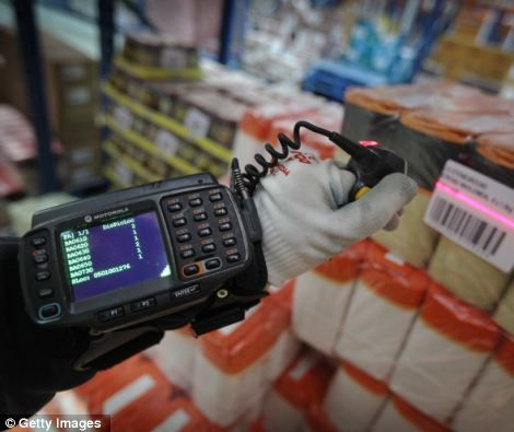 A worker checks stock with a finger-mounted scanner