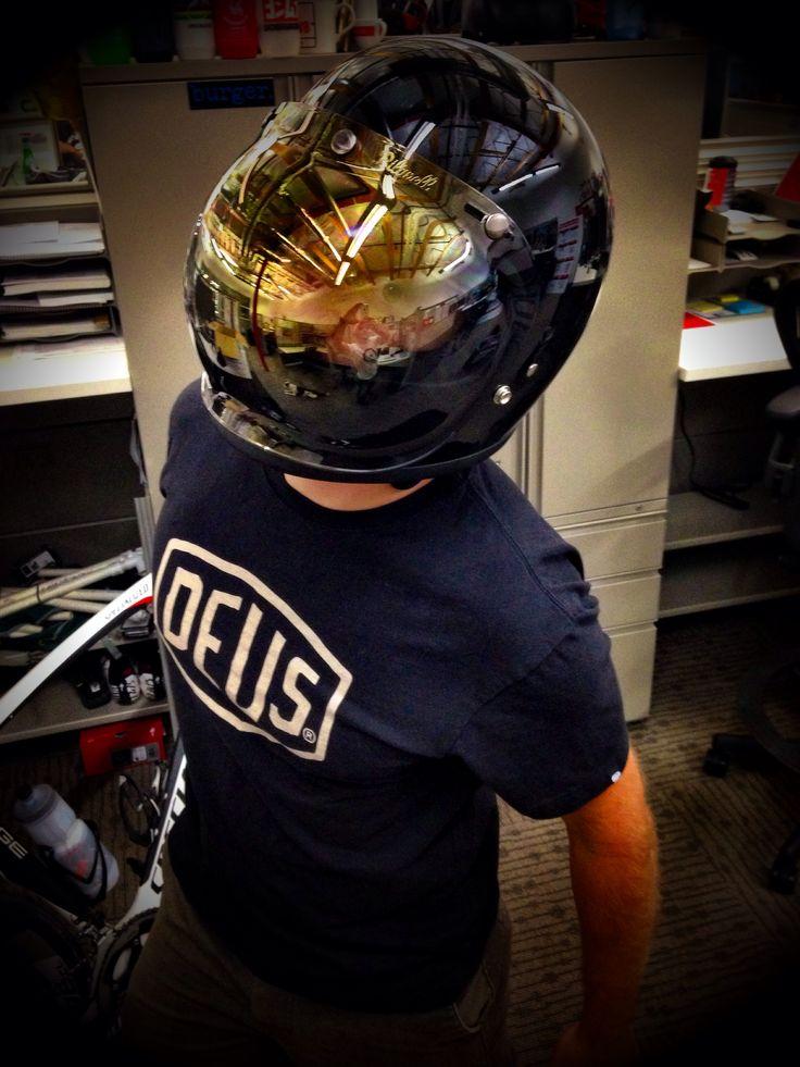 Tony looking hardcore cool. Bandit helmet with bubble shield