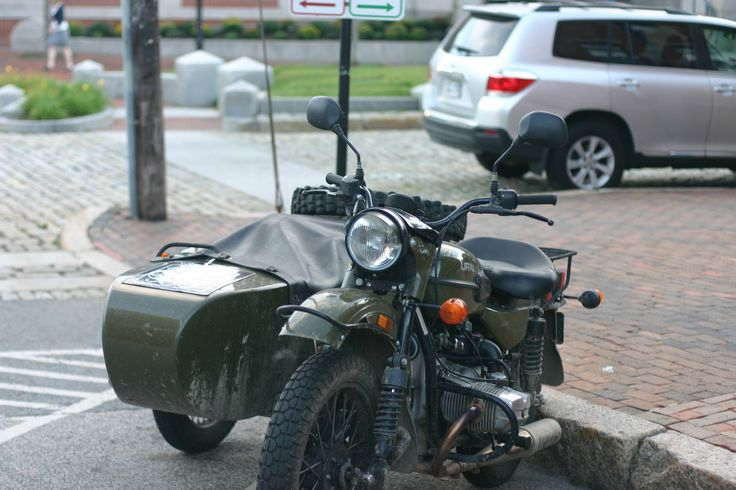 """portlanddrygoods: Ural """"Cossack"""" Motorcycle spotted in the old port, designed to fit the needs of the Russian Military during World War II. Inspired quite directly by BMW motorcycles, which were deconstructed and reverse engineered to create the Russian take."""