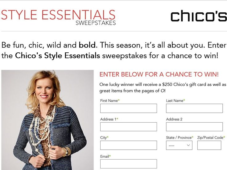 Enter the Chico's Style Essentials Sweepstakes for a chance to win a $250 Chico's Gift Card, and items featured in O, The Oprah Magazine!