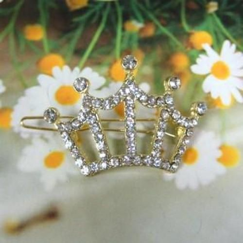 Rhinestone Crown Hair Pin Gold - One Size