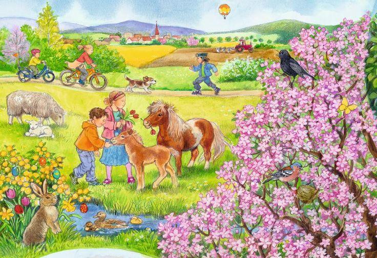 Puzzle mit Frühling, Pony und Velo fahren