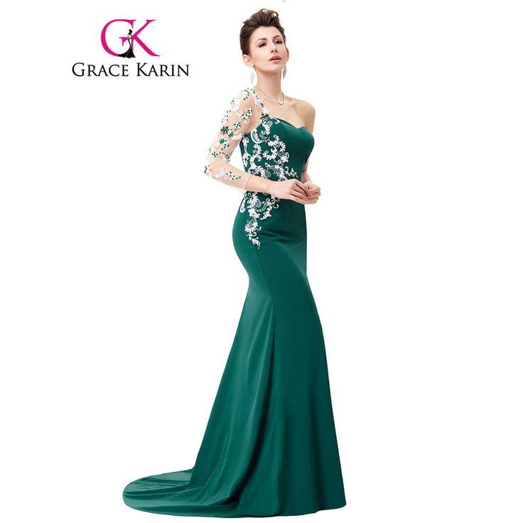 Grace karin asymmetrische lange mouwen avondjurk applicaties lace speciale gelegenheid jurken donkergroen mermaid avondjurken 2017