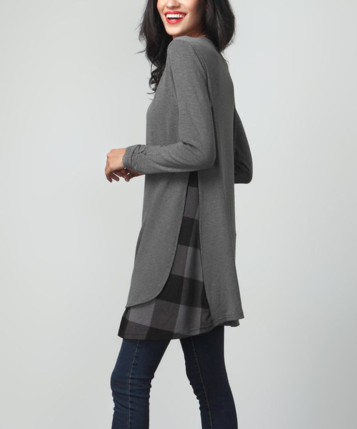 Loving this Charcoal & Plaid Layered Tunic on #zulily! #zulilyfinds