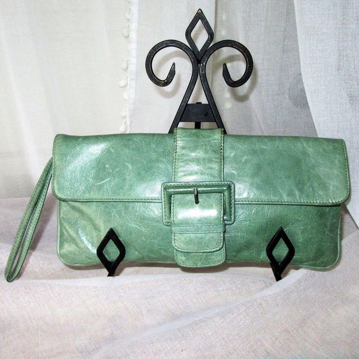 Hobo International Wristlet Clutch Sage Green Leather Buckle Lined in PINK! EUC  | eBay