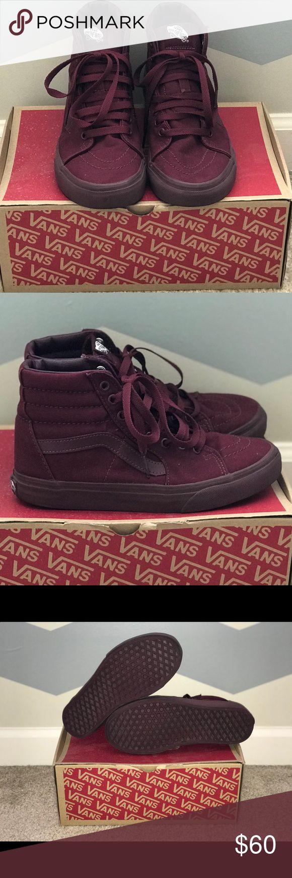High top Vans All burgundy high top vans, only been worn twice. Vans Shoes Sneakers