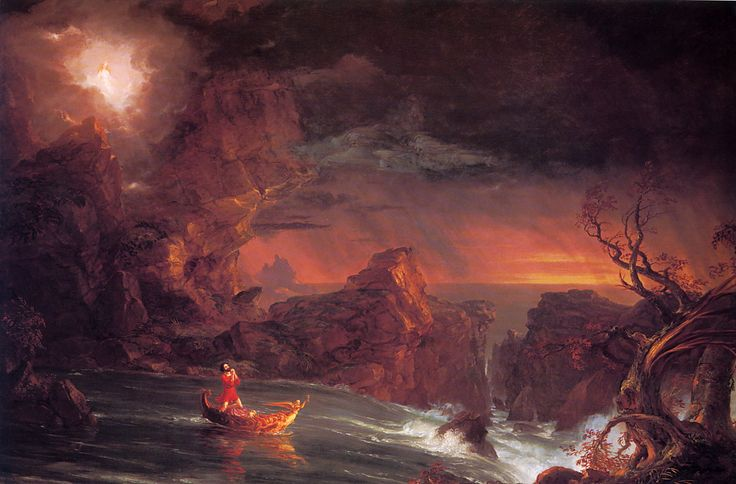 """Thomas Cole's """"The Voyage of Life""""  """"Manhood"""" is the 3rd in the 4 piece series.  The series represents the stages of a man's life.  Each piece is incredible.  Its on display at the National Gallery of Art in Washington DC."""