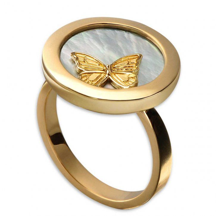 Yellow gold & Mother-of-Pearl Baile de Mariposa ring by Carrera y Carrera