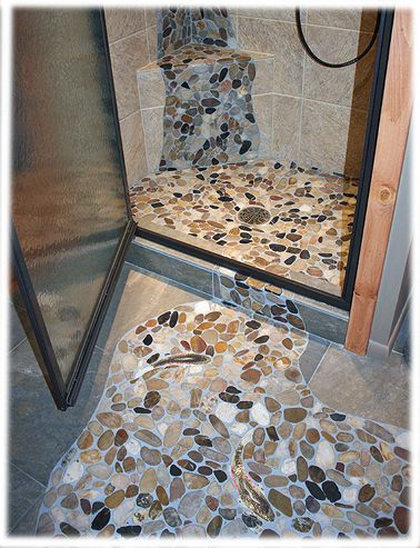 Rainbow Trout Shaped Mosaic Tiles In Sliced Pebble Stone Floor Design Idea