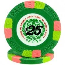 Paulson Casino de Isthmus Clay Poker Chips $25 @cardgameshop.com