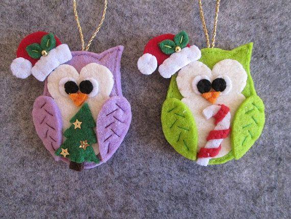 Navidad fieltro buho-ornamento de la Navidad del por TinyFeltHeart