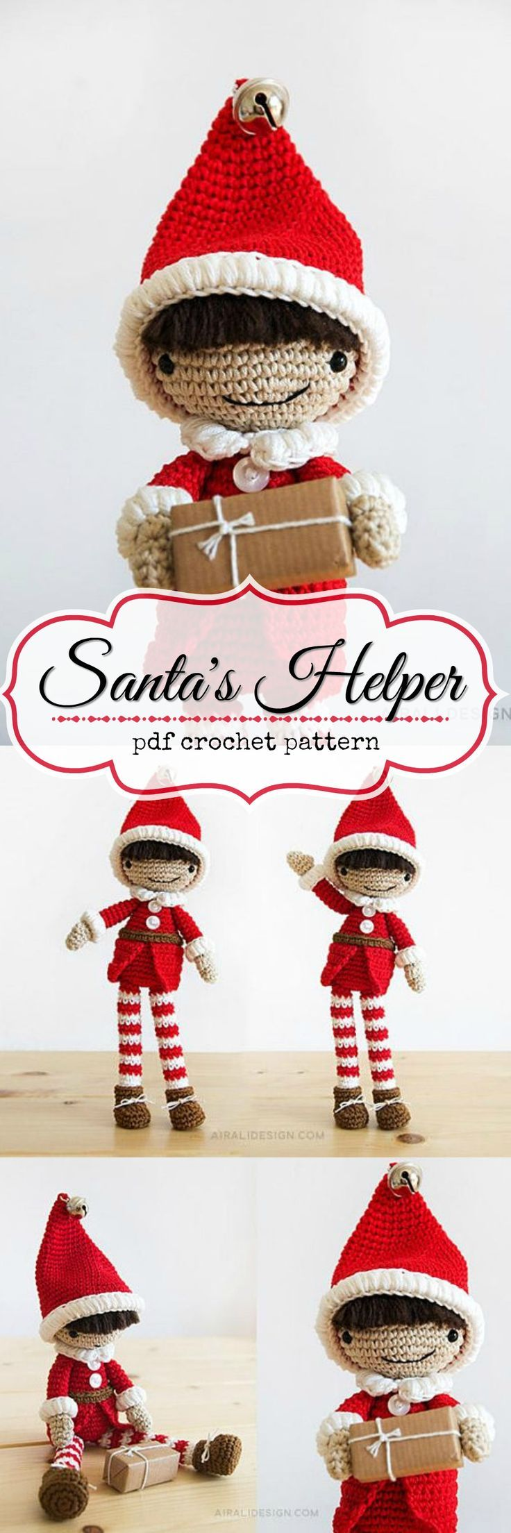 897 best crochet images on pinterest crochet clothes santas helper elf pdf crochet pattern to download i love his cute little pointy hat with the bell on top and his striped stockings bankloansurffo Gallery