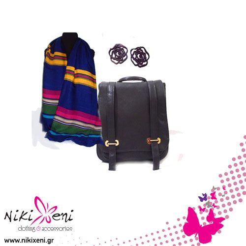 Scarf with stripes, wooden flower earrings, backpack with two laces in front._fashion woman accessories.