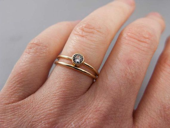 Gold And White Shire Wedding Ring Set Thin Engagement Band In Yellow But I Like The Stone On Top Of So
