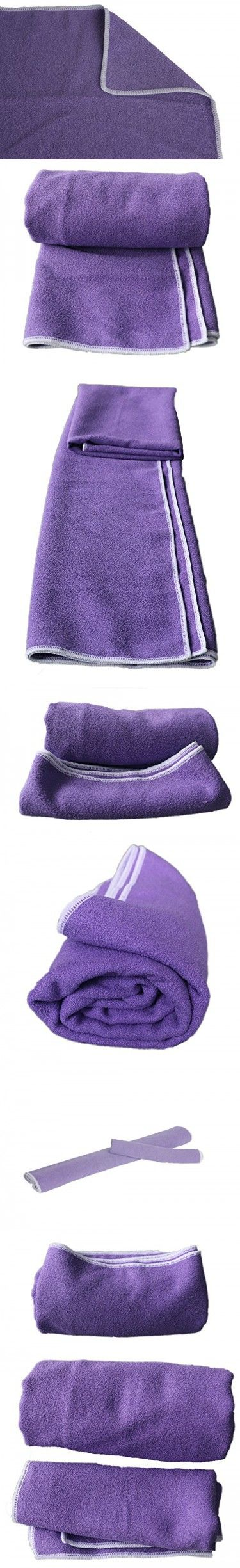 LUXEHOME Microfiber,Anti-Slip,Super Absorbent Hot Yoga Towel Kit, Include 1 Yoga Towel and 1 Hand Towel, Mat Size Length (Purple)