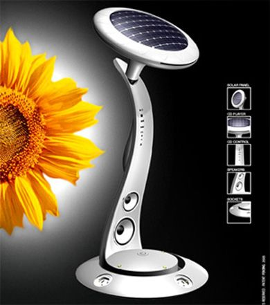 SunFlower – Solar Power Station by Ricardo Baiao    Sunflower is a new home & office solution, that uses solar energy to generate electric power thru three built in standard sockets. That combined with a solar powered music system interacts and transforms common living spaces into enjoyable and sustainable living environments.