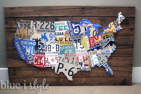 {DIY with style} A License Plate Map High Low Project