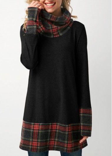 Cowl Neck Patchwork Plaid Black T Shirt  on sale only US$31.58 now, buy cheap Cowl Neck Patchwork Plaid Black T Shirt  at liligal.com