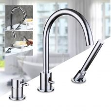 3 Holes Bathroom Bathtub Mixer Chrome Waterfall Bath Faucet Rainshower Taps with Extendable Handheld Shower Head