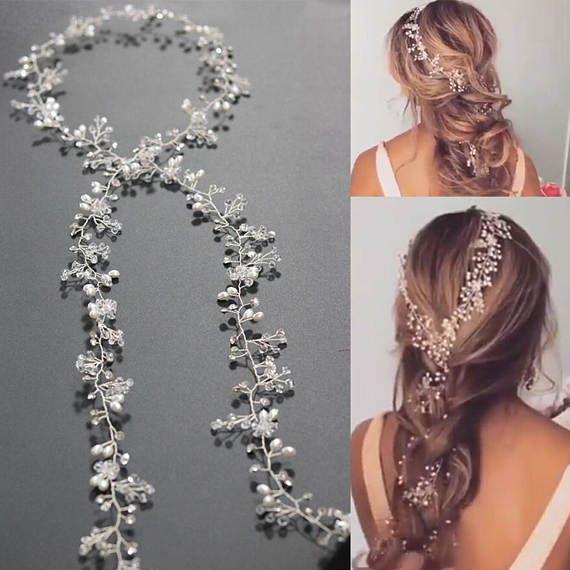 Bridal Hair Vine, Wedding Tiara, Wedding Headband, Bridal Hairpiece, Boho Headpiece, Wedding Hair Accessory, Wedding Hair Wreath, Pearl Vine