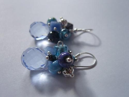Blue quartz, lapis lazuli, pyrite, glass