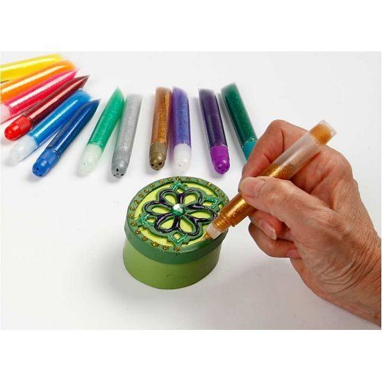 Glitterlijm tubes 12 stuks. Glitterlijm in helder plastic knijptubes met punt. Pak bevat 12 kleuren inhoud ongeveer: 10 ml