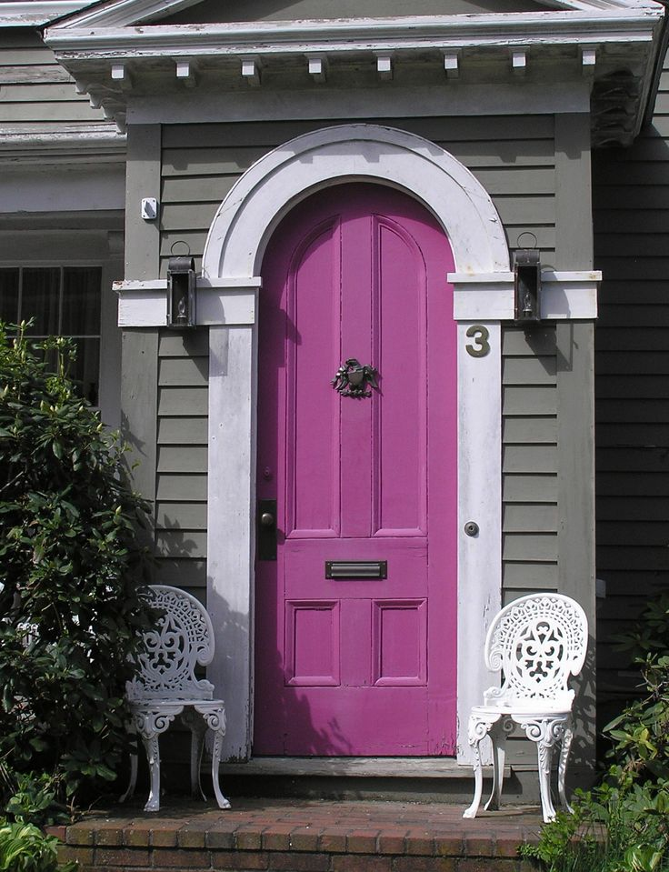 Purple arched front door gray house white trim for Beautiful front doors