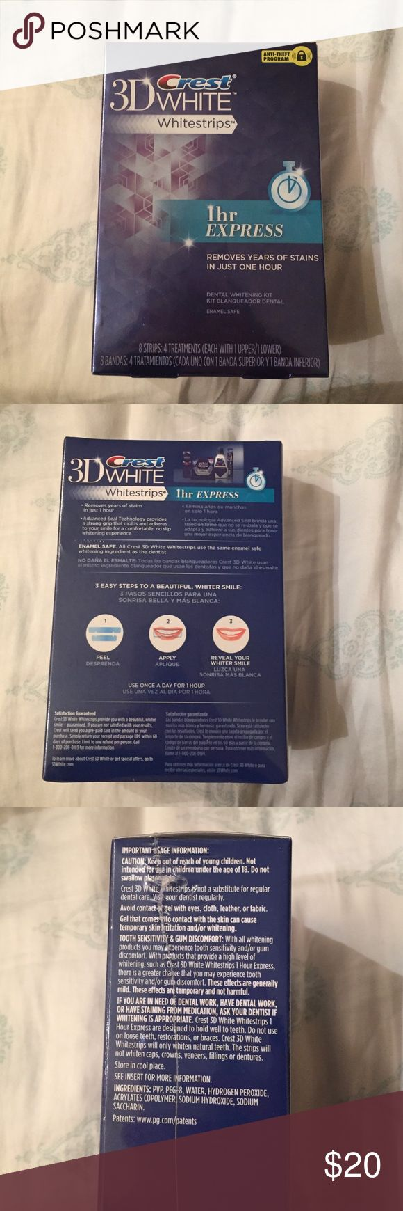3D Crest White Strips 1hr Express This is A NIB Never Opened Box of 1hr express crest white strips. 8 strips: 4 treatment each treatment has 1 upper and 1 lower.       PRICE IS FIRM Crest Makeup