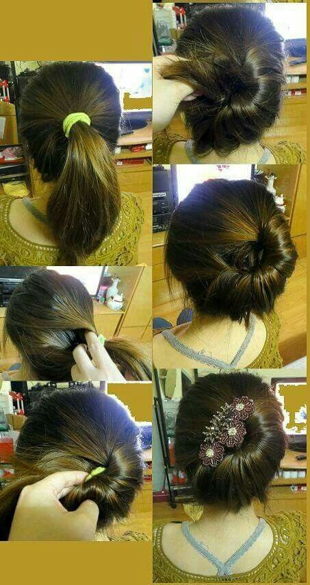 Off-the-side half-bun with hairclip detail