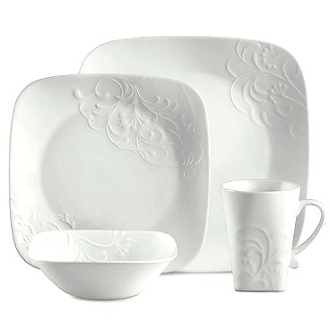embossed corelle dishes | Corelle Boutique Cherish Embossed Square 16-Piece Set