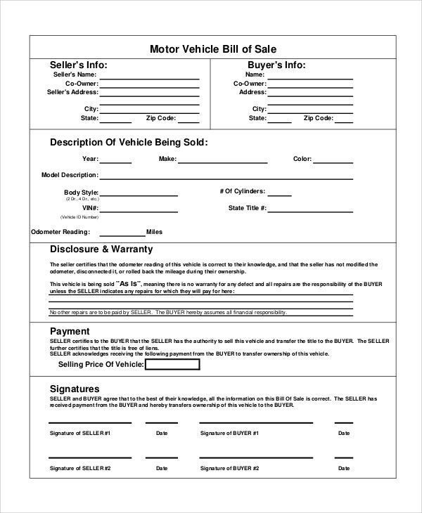 Used Car Bill Of Sale Template Fantastic Sample Motorcycle Bill Of Sale 8 Examples In Pdf Wor Bill Of Sale Template Word Template Bill Of Sale Car