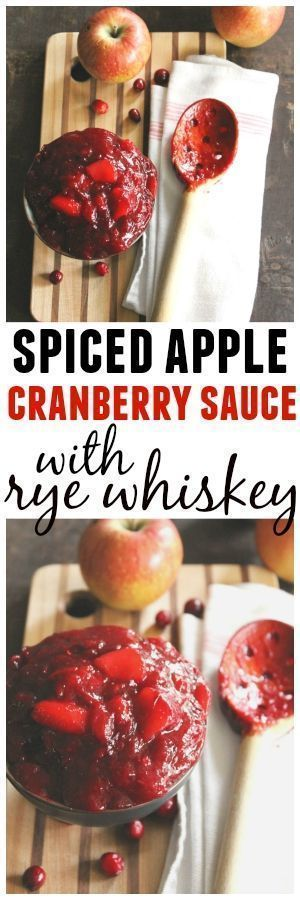 Spiced apple cranberry sauce with rye whiskey recipe! A spiked cinnamon spiced apple and cranberry sauce sure to be the best at your holiday table. Vegan. DELICIOUS! -Rhubarbarians