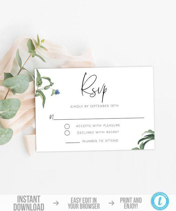 Greenery Rsvp Card Template Botanical Wedding Rsvp Postcard Etsy Rsvp Wedding Cards Wedding Rsvp Postcard Wedding Rsvp