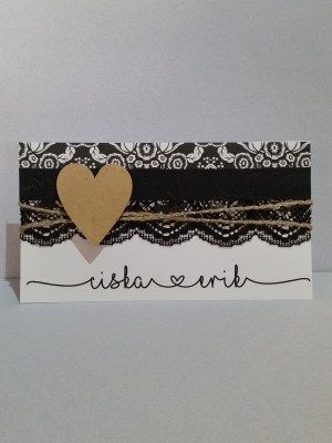 Wedding Invitation with wooden heart and string.  Lace with pattern paper and black embossed paper are used.