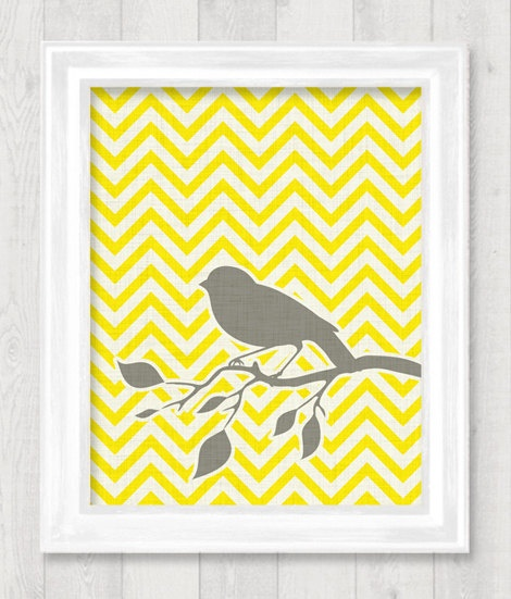 Bird Chevron Digital Printable Wall Art Print By