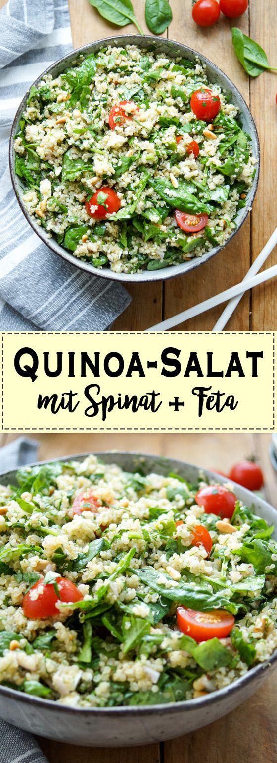 Dieses einfache Rezept für einen Quinoa-Salat ist schnell gemacht und mit einem Dressing aus Zitronen, Kreuzkümmel und Sumach voller frischer Aromen. Das Quinoa, der Spinat, frische Kräuter und saftige Tomaten liefern gesunde Nährstoffe. Und ein griechischer Fetakäse und geröstete Pinienkerne runden das Geschmackserlebnis ab. Vegetarisch und Glutenfrei. Einfache Gesunde Rezepte - Elle Republic