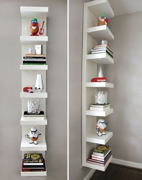 Awesome Use Of The Glossy White Ikea Lack Shelf Unit