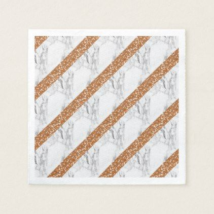 Marble rose gold glitter paper napkin - glitter glamour brilliance sparkle design idea diy elegant
