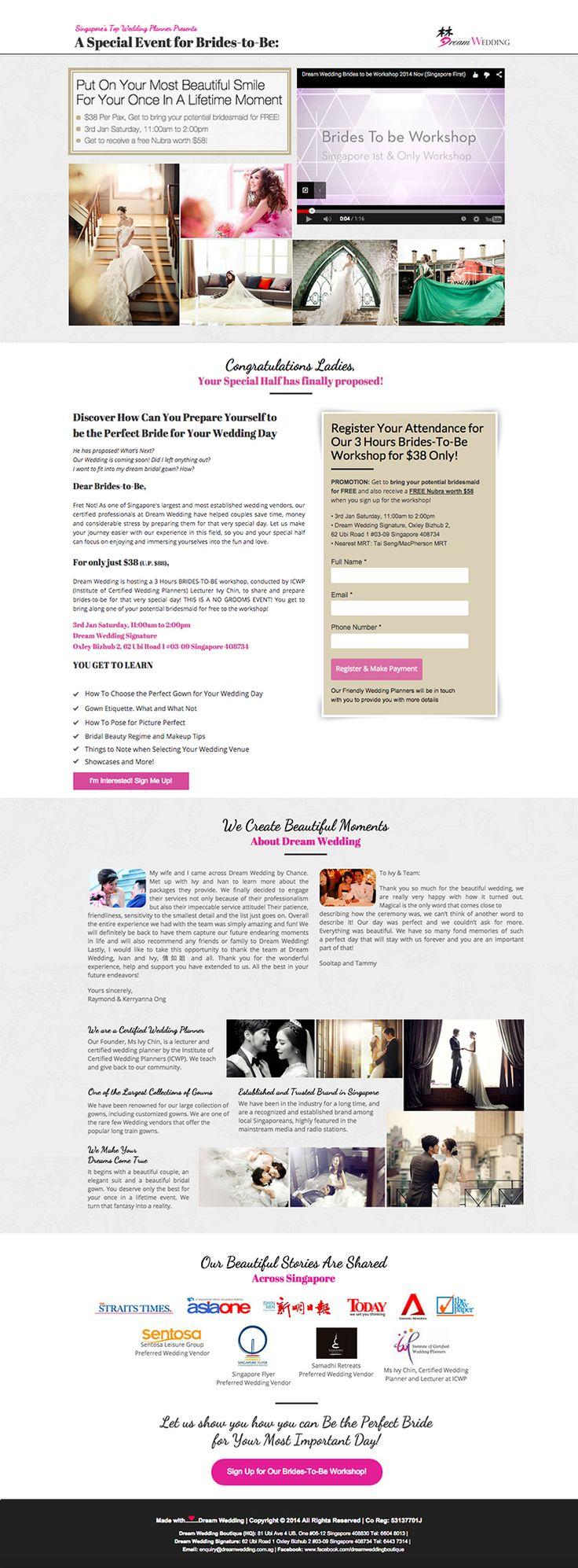 Dream Wedding Boutique | Desktop Sales Page: Brides-To-Be Workshop