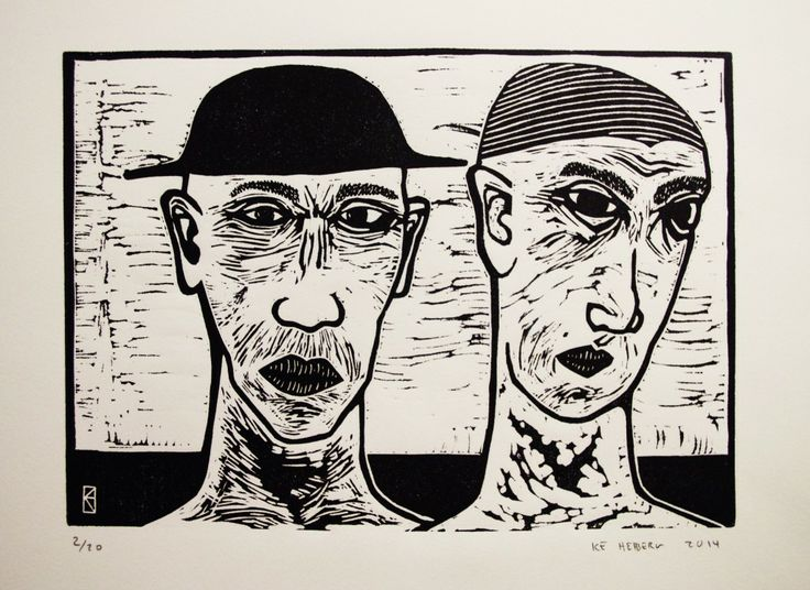 "linocut 23 x 30 cm ""Walking and talking by the seashore"""