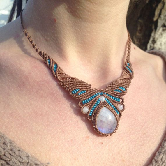 Rainbow moonstone micromacrame necklace. Brown and by ARTofCecilia