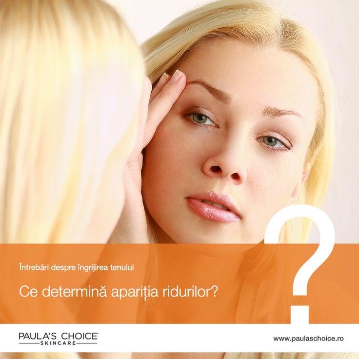 Ce determină apariția ridurilor? Felul în care pielea îmbătrânește este un proces complex de evenimente, însă factorii primari sunt:  1. Daunele solare  2. Genetica 3. Îmbătrânirea cronologică  4. Hormonii  5. Grăsimea   6. Mișcarea mușchilor  7. Bariera naturală a pielii deteriorată